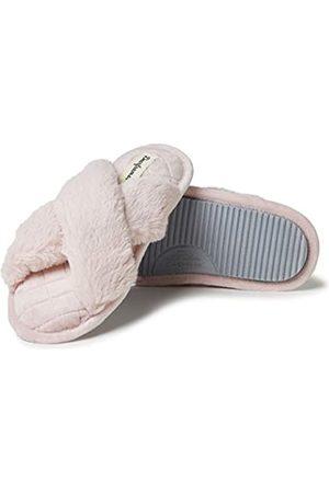 Dearfoams Damen Jessica Furry Crossband Slide Hausschuh, -Dusty pink