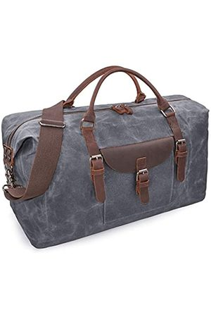 NEWHEY Übergroße Reisetasche Seesack wasserdicht Canvas Weekender Leder Overnight Handtasche - 2056