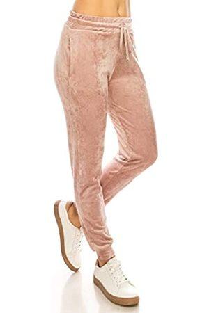 Always Damen Samt Velours Jogginghose - Solid Basic Premium Soft Stretch Warm Winter Sweatpants Pants - Pink - Mittel