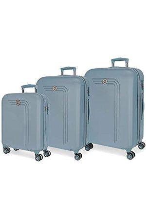 MOVOM Riga Kofferset Blau 55/70/80 cms Hartschalen ABS Kombinationsschloss 217L 4 Doppelräder Handgepäck