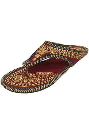 Step N Style Punjabi Jutti Indische Schuhe Flache Flop Flop Khussa Schuhe Jaipuri Sandalen, Gold