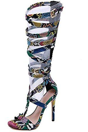 Pofameeta Damen Sandalen Gladiator High Heel sexy Schlange offene Zehen Reißverschluss Plus Size Fashion Sommer Stiefel kniehoch, (mehrfarbig)