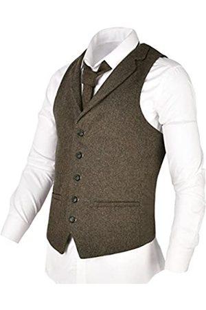 VOBOOM Herren Herringbone Tailored Kragen Weste Verteidiger Wolle Tweed Anzug Weste XX-Large