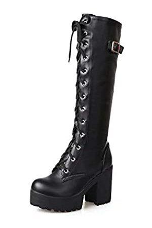 XIUQIAN Kniehohe Stiefel für Damene Absätze, Plateaustiefel, runder Zehenbereich, Schnürung, Blockabsatz, klobiger Absatz, Motorradstiefel