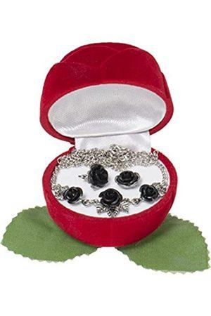 Schnabel Damen-Schmuckset Halskette + Ohrringe Rosenschmuck - Rosenset schwarz