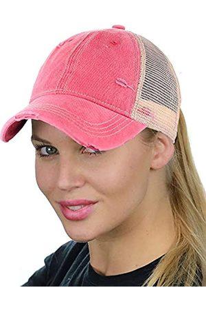 C.C Damen Sport BHs - Ponycap Messy High Bun Pferdeschwanz Einstellbare Mesh Trucker Baseball Cap Hut - - Einheitsgröße