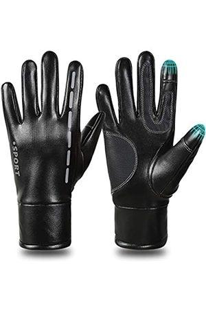 BAIDREN Winterhandschuhe, PU-Leder, winddicht, warm, Touchscreen-Handschuhe für Herren und Damen, für Radfahren, Laufen