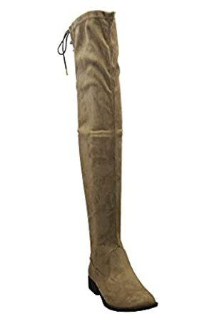 Qupid Vinci-49xx Damen Reitstiefel, zum Schnüren, über dem Knie, Gelb (Taupe Stretch)