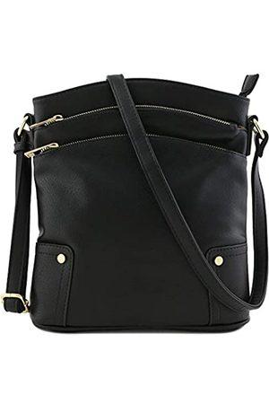 Alyssa Große Crossbody-Tasche mit drei Reißverschlusstaschen.