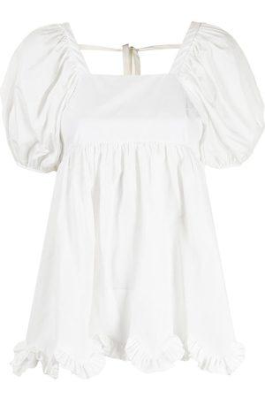Cecilie Bahnsen Gerüschte Bluse mit eckigem Ausschnitt