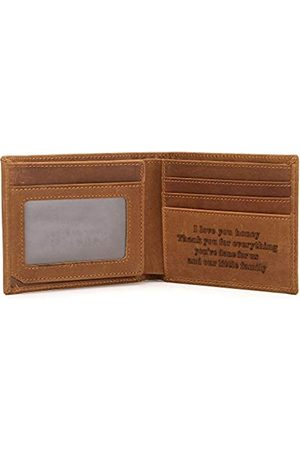 FAYERXL Engraved Leather Bifold Wallet to My Husband/Son Gift Ideas Mens Wallet Minimalist Front Pocket RFID (I Love You Honey)