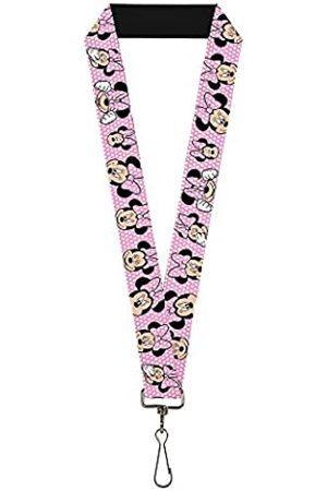 Buckle-Down Unisex-Erwachsene Lanyard - 1.0 - Minnie Mouse Expressions Polka Dot Pink/whit Schlüsselanhänger