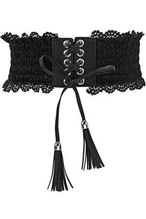 KOL_Fashion Damen Spitzen-Korsett mit elastischem Taillengürtel, Quastenband