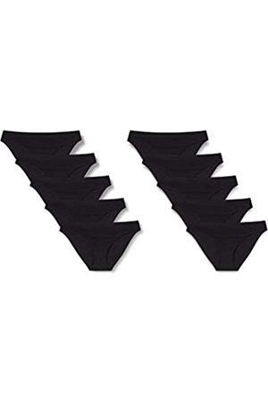IRIS & LILLY Damen Bikinihöschen aus Baumwolle, 10er-Pack (Black), S