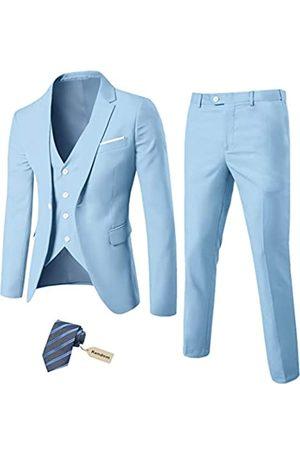 MY'S Herren 3-teiliges Slim Fit Anzug-Set, Ein-Knopf-Jacke, Weste