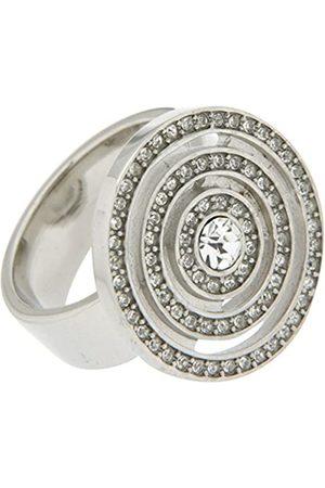 Jean Pierre Damen-Ringfarbener mit Swarovski besetzter Spirale Messing rhodiniert Synthetischer Diamant weiß Rundschliff Gr. 60 (19.1) - HEJRR6609-19 RH