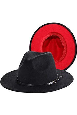 PORSYOND Fedora-Hut mit breiter Krempe aus Filz, für Herren und Damen, Gürtelschnalle, Panama-Jazz-Hut