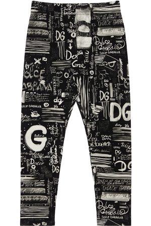 Dolce & Gabbana Leggings Aus Baumwollinterlock Mit Logo
