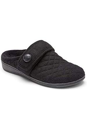 Vionic Women's Indulge Carlin Flannel Mule Slipper Black Medium 9 US