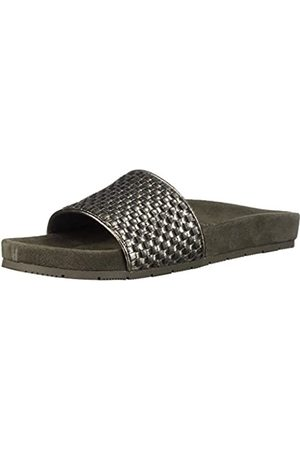 JSLIDES Women's Naomie Slide Sandal, Pewter Metallic Leather