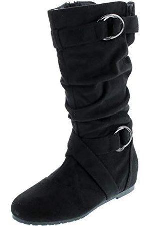 FOREVER Kayden-84 Women's Cut Out Side Zipper Strap Buckle Flat Heel Slouchy Boots,Black