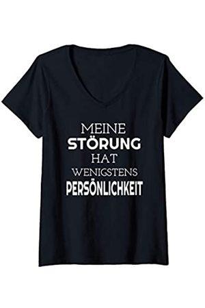 26 Rd Londonshirts Apparel Damen Meine Störung hat wenigstens Persönlichkeit - Spruch T-Shirt mit V-Ausschnitt
