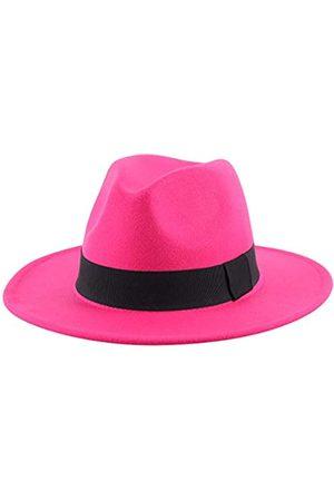 Lanzom Damen Fedora-Hut, breite Krempe, warm, Retro-Stil, Gürtel