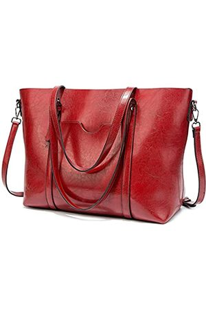 FADPRO Large Tote Bags for Women PU Leather Satchel Purses and Handbags Shoulder Bag for Work Fits 14 Inch Laptop - Red
