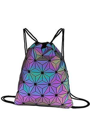 Sun Kea Rucksack mit geometrischem Kordelzug, holografisches Laser-Leder, für Reisen, Freizeit, Tagesrucksack, Sport