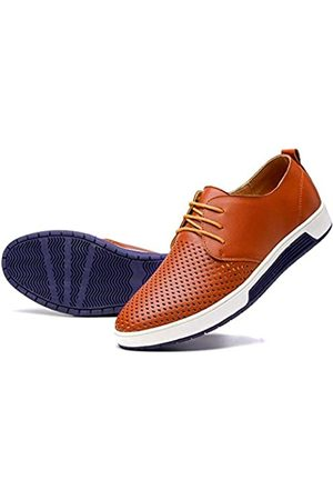 konhill Herren Casual Oxford Schuhe Atmungsaktiv Kleid Schuhe Loafers Schnürer Flache Sneakers, (Lk Brown)