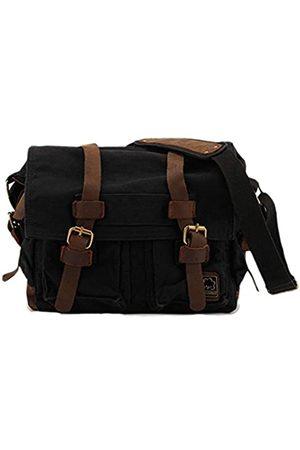 Sechunk Canvas Leather Messenger Bag Shoulder Cross Body Men Military Travel Laptop Camera Purse small-13''