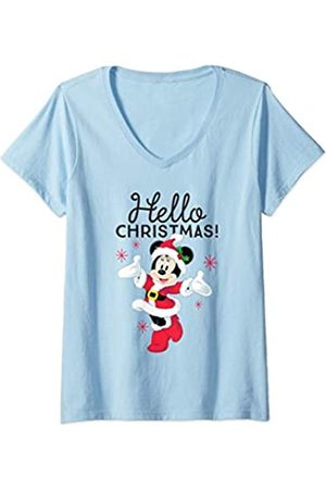 Disney Damen Santa Minnie Mouse Hello Christmas Holiday T-Shirt mit V-Ausschnitt