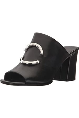 Via Spiga Women's Eleni Block Heel Slide Sandal, Black Leather