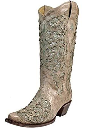 Corral Boots Corral Damen Cowboystiefel, 33 cm, Weiß/Grün, Glitzer-Inlay & Kristalle, zum Überziehen, Größen 38-47 B, Braun (knochenfarben)