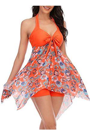 MiYang Damen Tankini-Badekleid mit Boyshorts, zweiteiliger V-Ausschnitt, Schleife, Neckholder