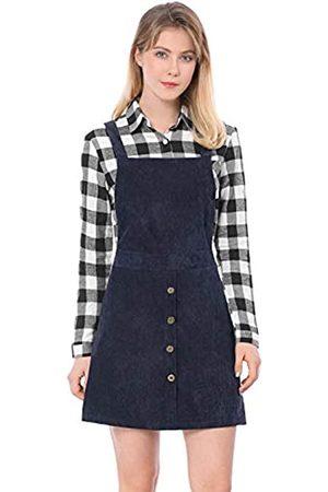 Allegra K Damen A Linie Button Dekor Cord Latzkleid Kleid XL