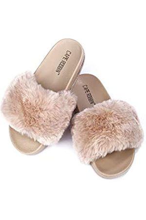 Cape Robbin Boo Furry Kunstfell Slides Hausschuhe für Damen Flauschige Hausschuhe, (nude)