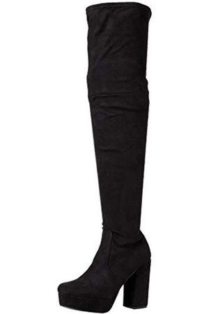 Steve Madden Damen GOTHAM BLACK FABRIC Overknee-Stiefel