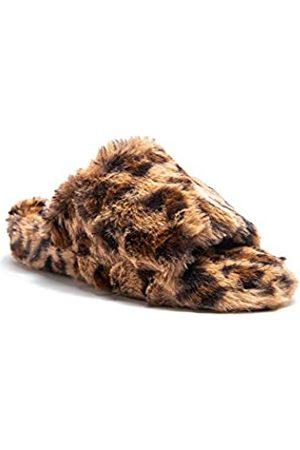 Qupid Damen Casual Offene Zehen Slip On Pelz Pelz Slide Sandalen, (Leopard Kunstfell)