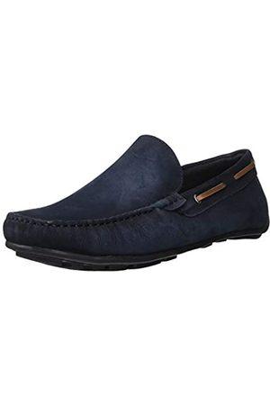 Driver Club USA Herren Made in Brazil Luxus Leder venezianischer Loafer Driving Style, Blau (Marineblau)