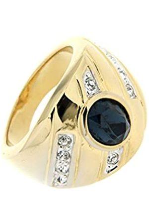 Jean Pierre Damen-Ring Messing teilvergoldet Glas blau Ovalschliff Gr. 63 (20.1) - HEJR817-20 TT