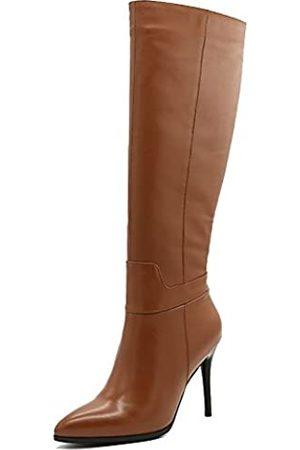 Amarantos Damenmode Slip on Side Zipper Kleid Stiletto Heel Leder Kniehohe Stiefel Matte Brown Größe 42