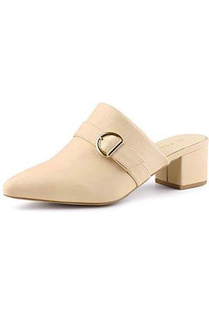 Allegra K Damen Spitze Zehen Slip on Blockabsatz Sandalen Pantoletten