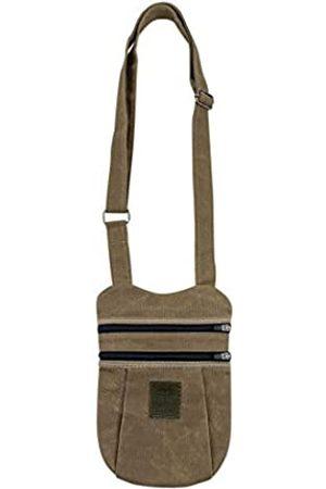 Santa Playa Reise-Schultertasche handgefertigt aus gewachstem Segeltuch – schmale Geldbörse mit zwei Reißverschlusstaschen und verstellbarem Gurt – zum Tragen persönlicher Gegenstände, Handy