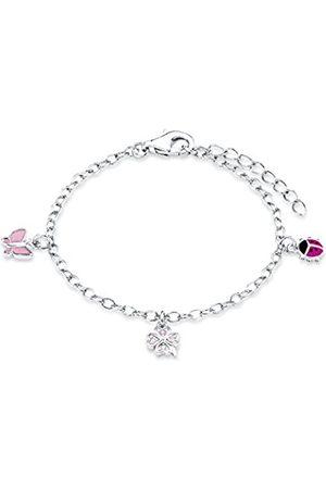Prinzessin Lillifee Armband mit Marienkäfer, Schmetterling und Kleeblatt Anhänger für Mädchen, Zirkonia / 925 Sterling Silber, Rhodiniert / Emailliert