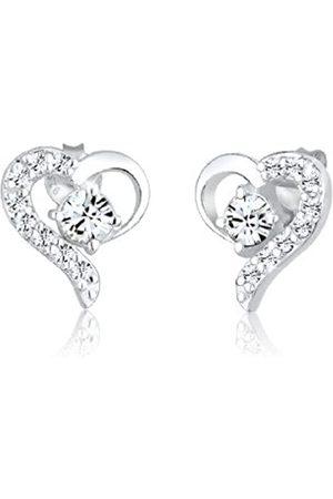 Elli Ohrringe Damen Herz Liebe mit Kristalle in 925 Sterling