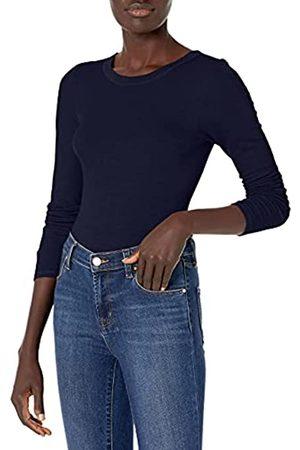 ENZA COSTA Damen Stretch Silk Rib Fitted Long Sleeve Crew Neck Top T-Shirt