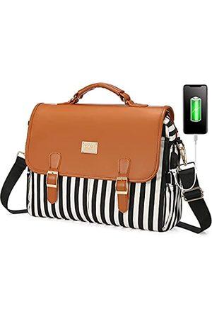 LOVEVOOK Laptoptasche für Damen, große Kapazität, Computertaschen, niedliche Schultertasche, Messenger-Tasche, Business, Arbeitstasche, Aktentasche, Geldbörse, Laptophülle, 15,6 Zoll, gestreift