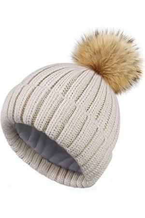 HATOOZE Damen Hüte - Beanie Mütze Wintermütze Damen Strickmütze für Mädchen Frauen Doppellagige Fleece Futter Bommelmütze mit abnehmbarem Kunstpelz Bommel