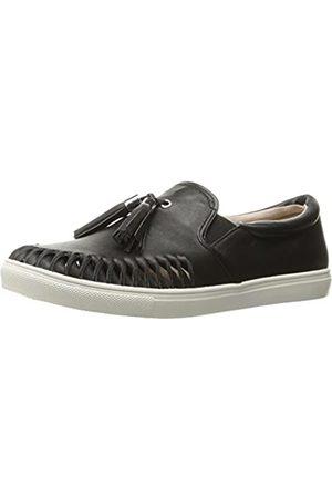 JSLIDES Women's Cheyanne Fashion Sneaker, Black Leather